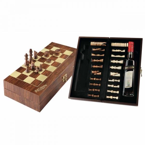 Liquore Toccasana con scacchiera in legno