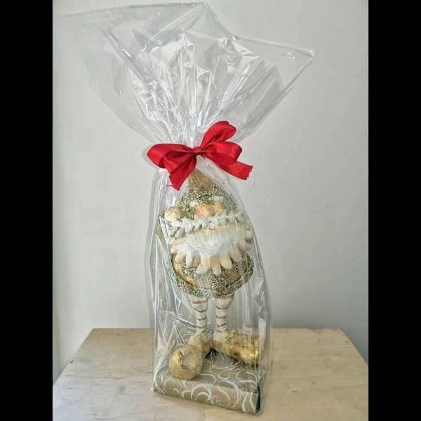 Babbo Natale in ceramica con base di cioccolatini Lindt.